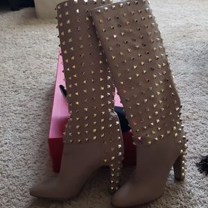 Valentino nude boots with gold studs